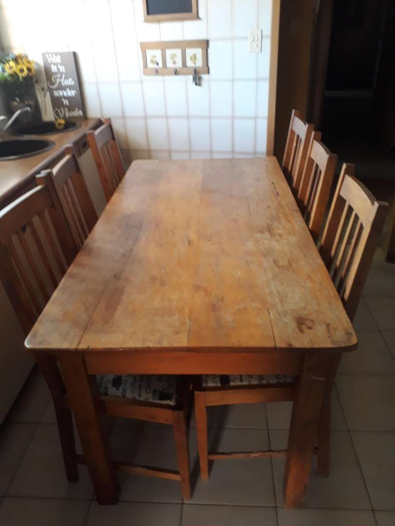 Antique Yellow Wood Table With Beechwood Chairs 0 Furniture