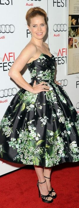 Who made Amy Adams' strapless black floral dress that she wore in Hollywood on…
