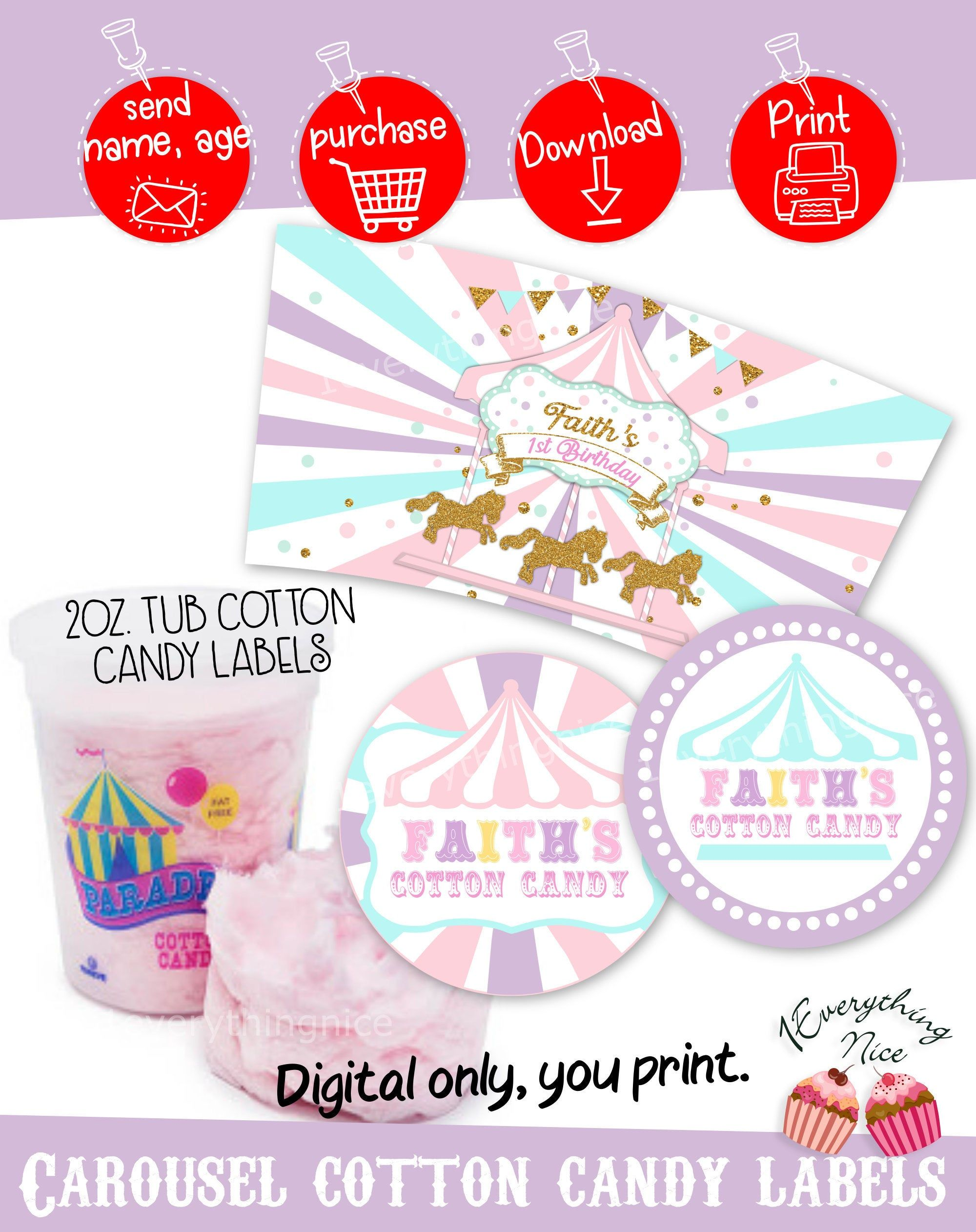 Digital Download Carousel Theme 2oz Cotton Candy Tub
