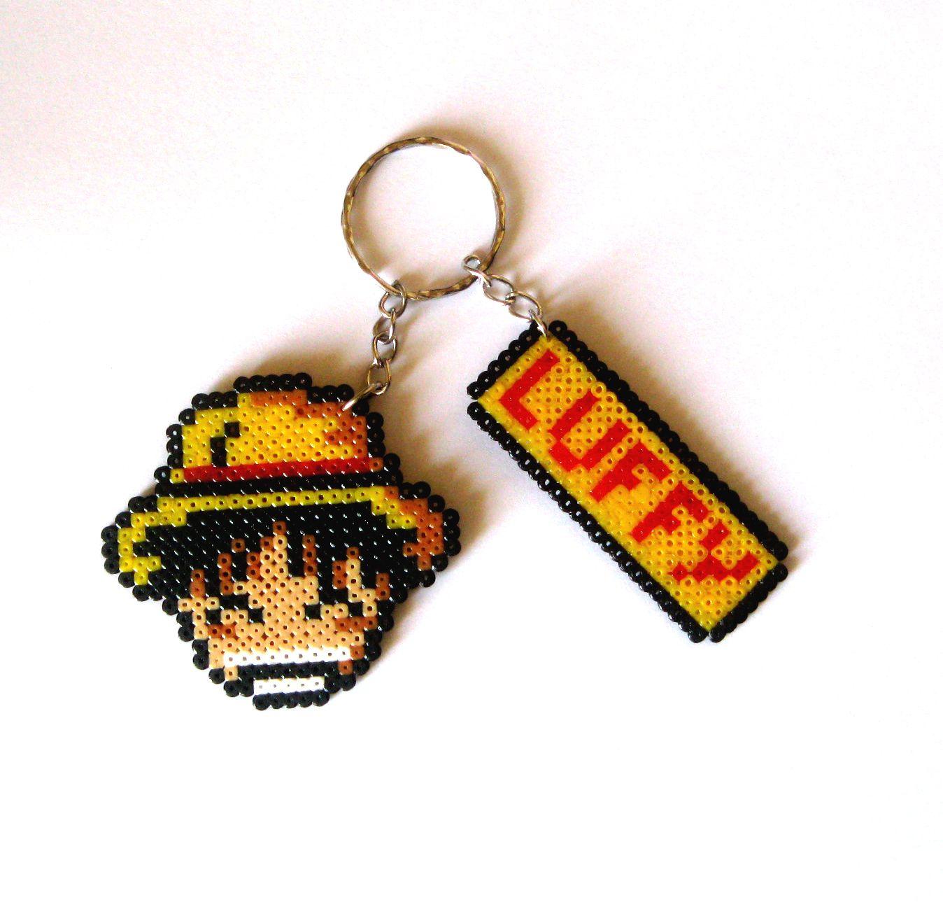 Monkey D. Luffy - One Piece keyring hama mini beads by Regalopia Freak Creations - www.etsy.com/Shop/FreakCreations