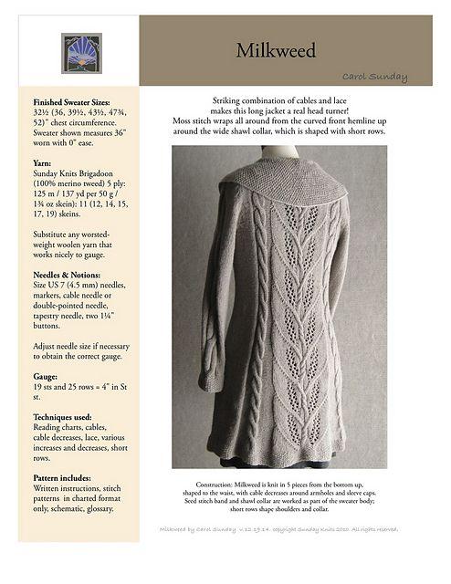 Ravelry: Milkweed pattern by Carol Sunday   Punto   Pinterest ...