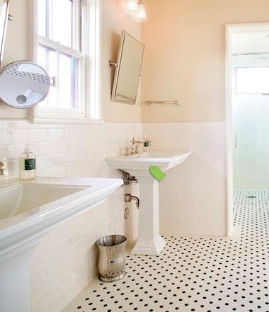 polka dot tile floor!   traditional bathroom, white tile