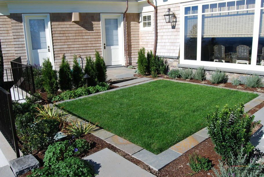 Simply Square Green Grass With Concrete Frame And Several ...