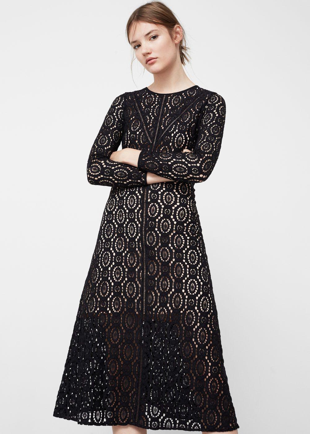 Vestido midi guipur - Vestidos de Mujer  629866271c86
