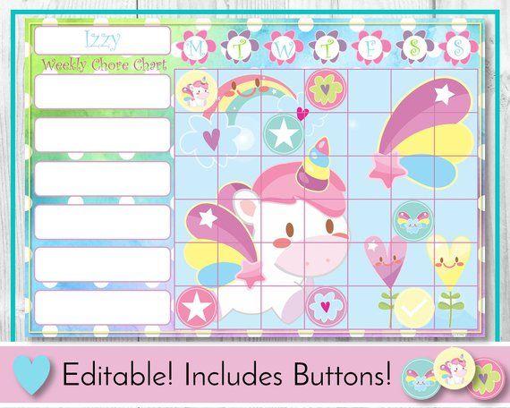 Unicorn Editable Chore Chart, Reward Chart, Behaviour and