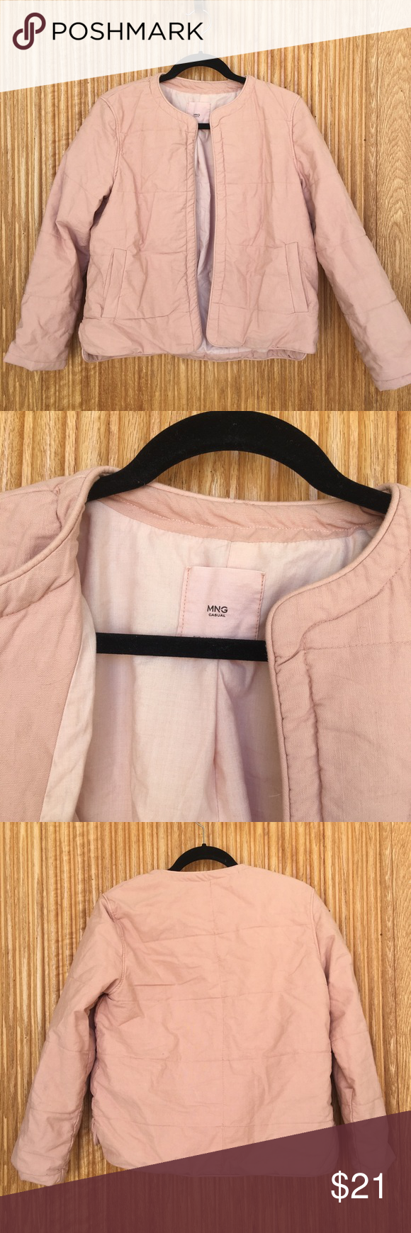 MNG Mango Quilted Peachy Bomber Jacket Cute quilted coat from MNG. Never been worn, living in Arizona I don't wear a lot of jackets. Perfect condition, great quality piece :) Mango Jackets & Coats