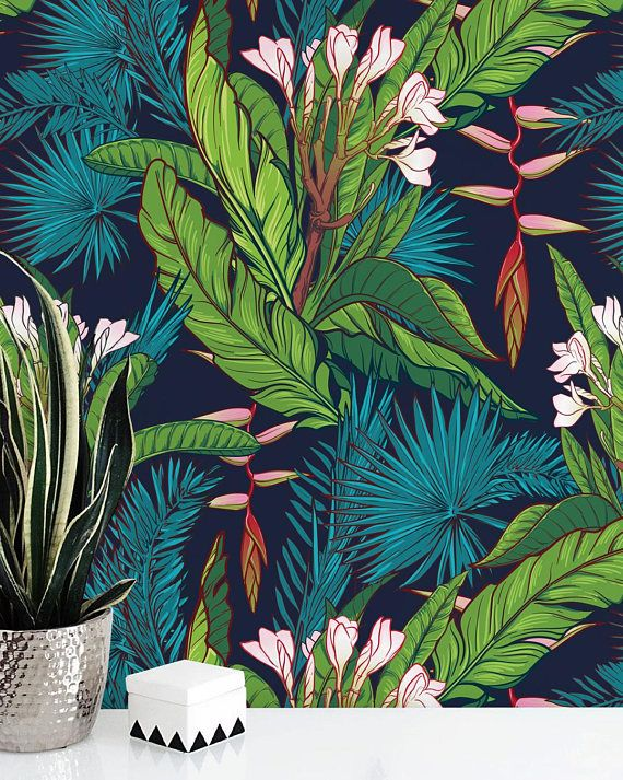 Tropical Jungle Full Of Colorful Plants Removable Self Adhesive Wallpaper Wallmural That Stick To Every Flat S Jungle Mural Jungle Wallpaper Mural Wallpaper