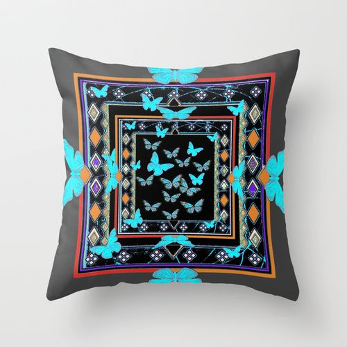 Blue Butterflies American Southwest Chacoal Grey Design Throw Pillow by Sharlesart | Society6 #art  #design #awesome #print  #poster  #color  #cool  #gift  #gift #ideas  #hipster  #funny  #Illustration  #threadless  #drawing  #girls  #beautiful #humor
