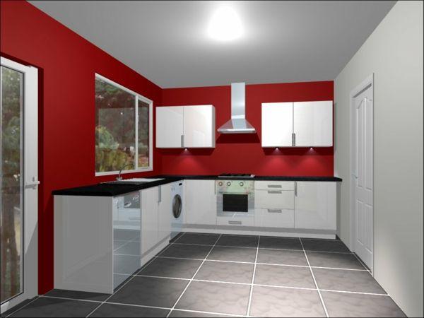 Rote Wandgestaltung Die Küche Einrichten