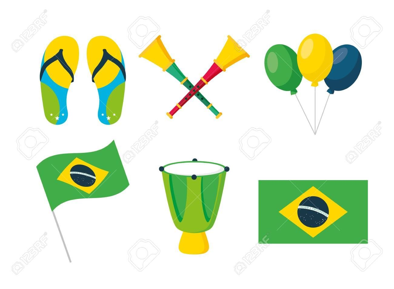 carnival festival flag drum horns balloons flip flops vector illustration Illustration ,