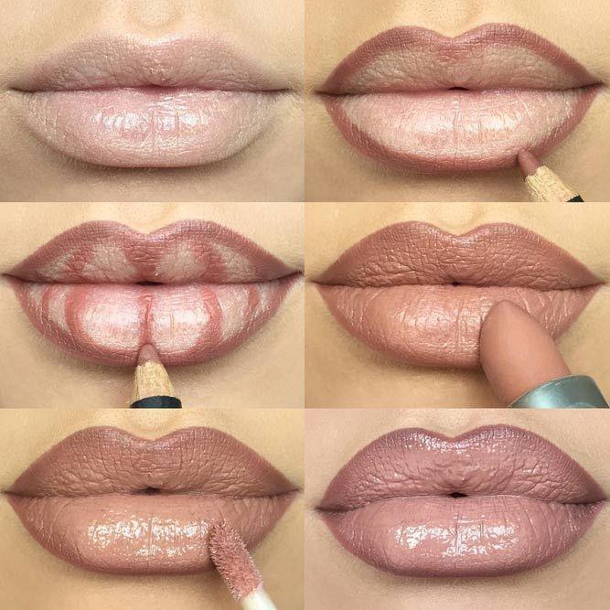 Lippen voller schminken Nude Braun Anleitung #beauty #makeup #make-upideen