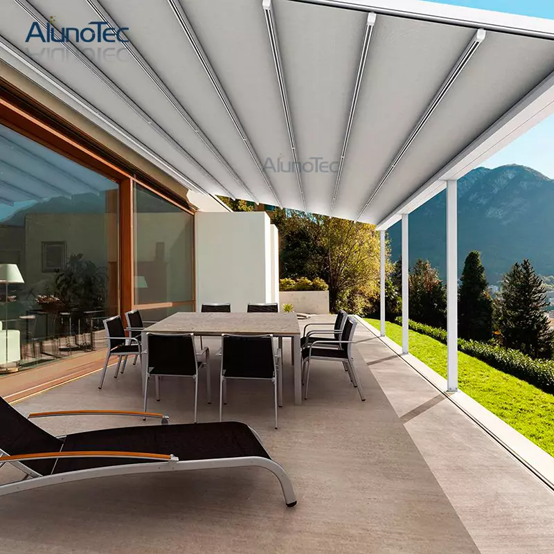 Motorized Louvre Roof Modern Awning Design With Curtain Buy Modern Awning Design Motorized Modern Awning De In 2020 Canvas Awnings Modern Pergola Retractable Awning