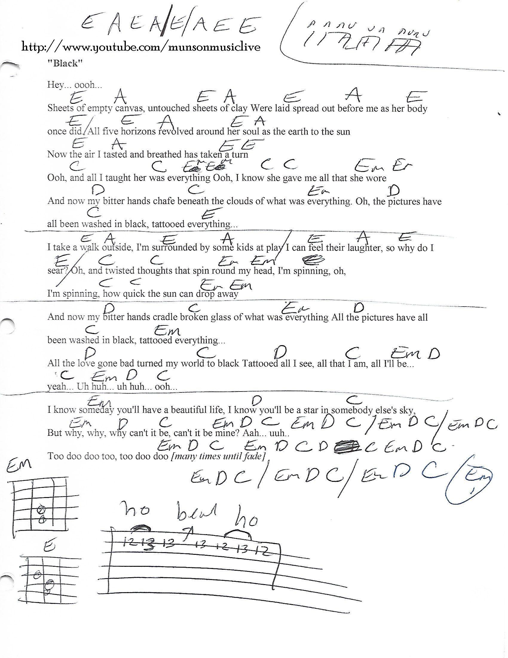 Black Pearl Jam Guitar Chord Chart