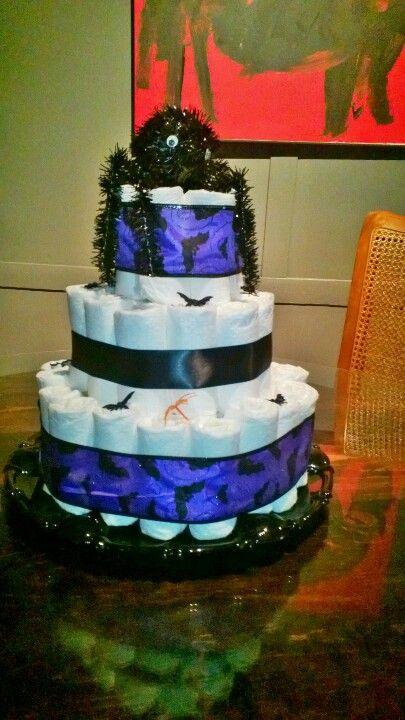 Halloween diaper cake. Spooky diaper cake. Halloween baby shower. Spooky baby shower.
