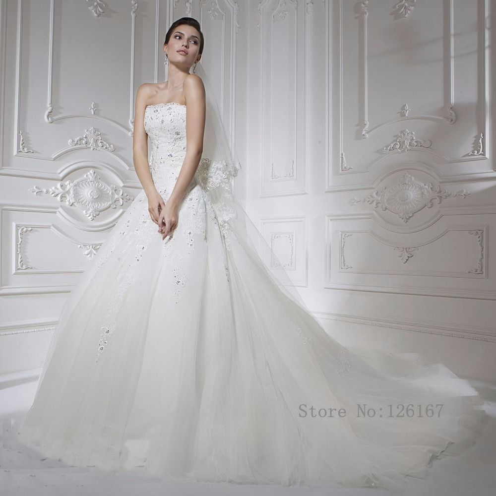 Aliexpress buy strapless long white a line wedding dress new