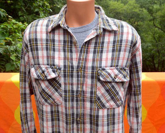 70s Cotton Flannel Blue Red White Plaid Button Down LXL