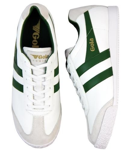Gola Harrier Mens White Green Leather Classic Trainers