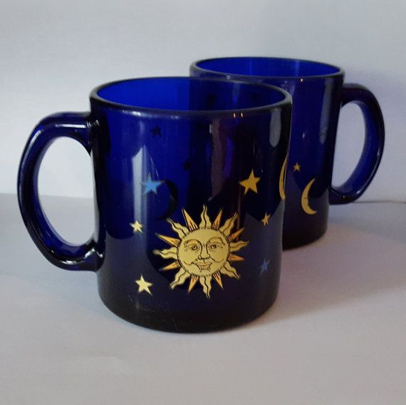 Vintage Celestial Cobalt Blue Mugs Sun Moon Stars By Libbey Coffee Mugs Set Of 2 Made In The Usa Bright Cheery Excellent Condition Mugs Stars And Moon Unique Items Products