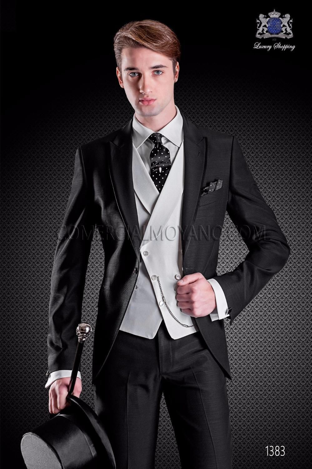 Latest Coat Pant Design Black Men Suit Double Breasted Terno Slim