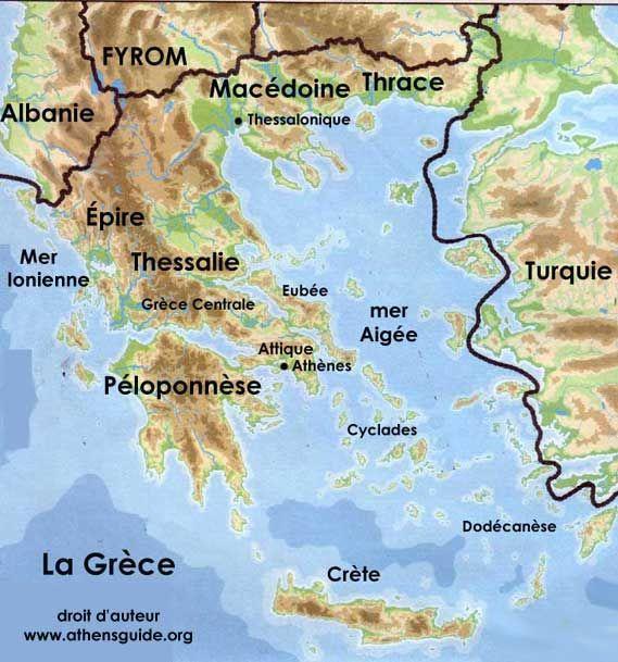 carte physique de la grece | La Grèce avec la Crète et les îles