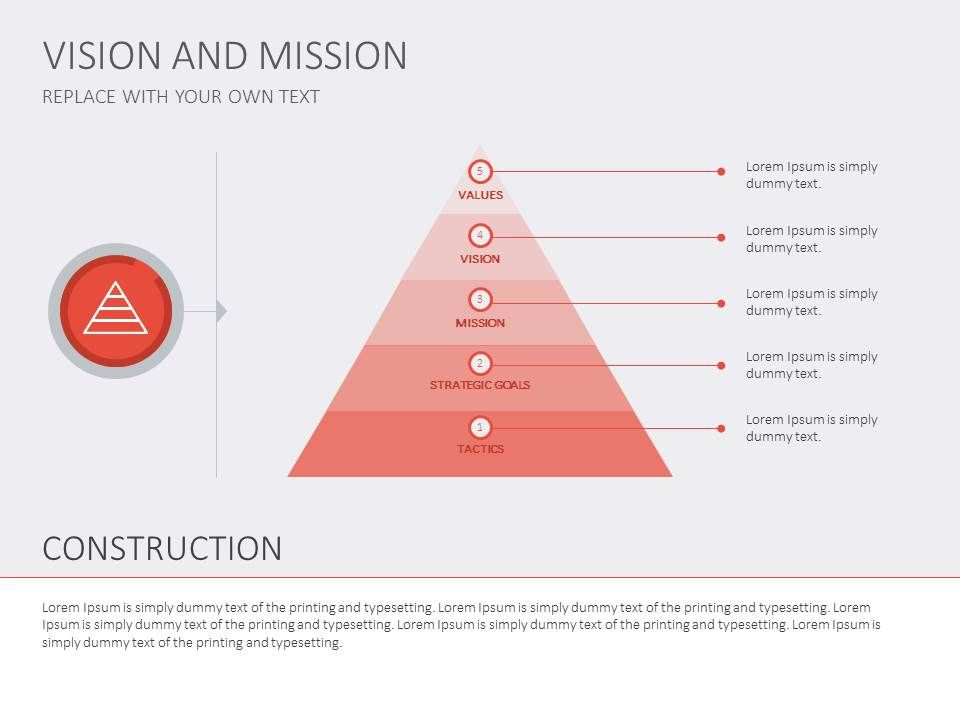 A red triangle for introducing a hierarchy of goals #presentation - marketing presentation