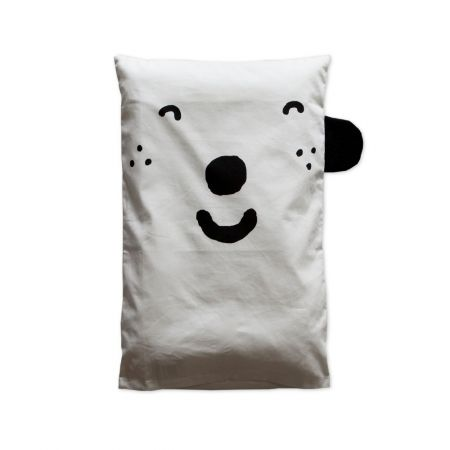 Happy  pillowcase in blue by little red stuga - hardtofind.