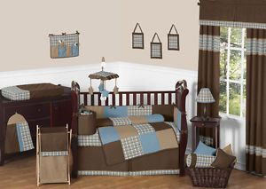 Sweet Jojo Designs Discount Plaid Blue Brown Baby Boy Crib Bedding Comforter Set Boys Crib Bedding Sets Blue Bedding Sets Crib Bedding