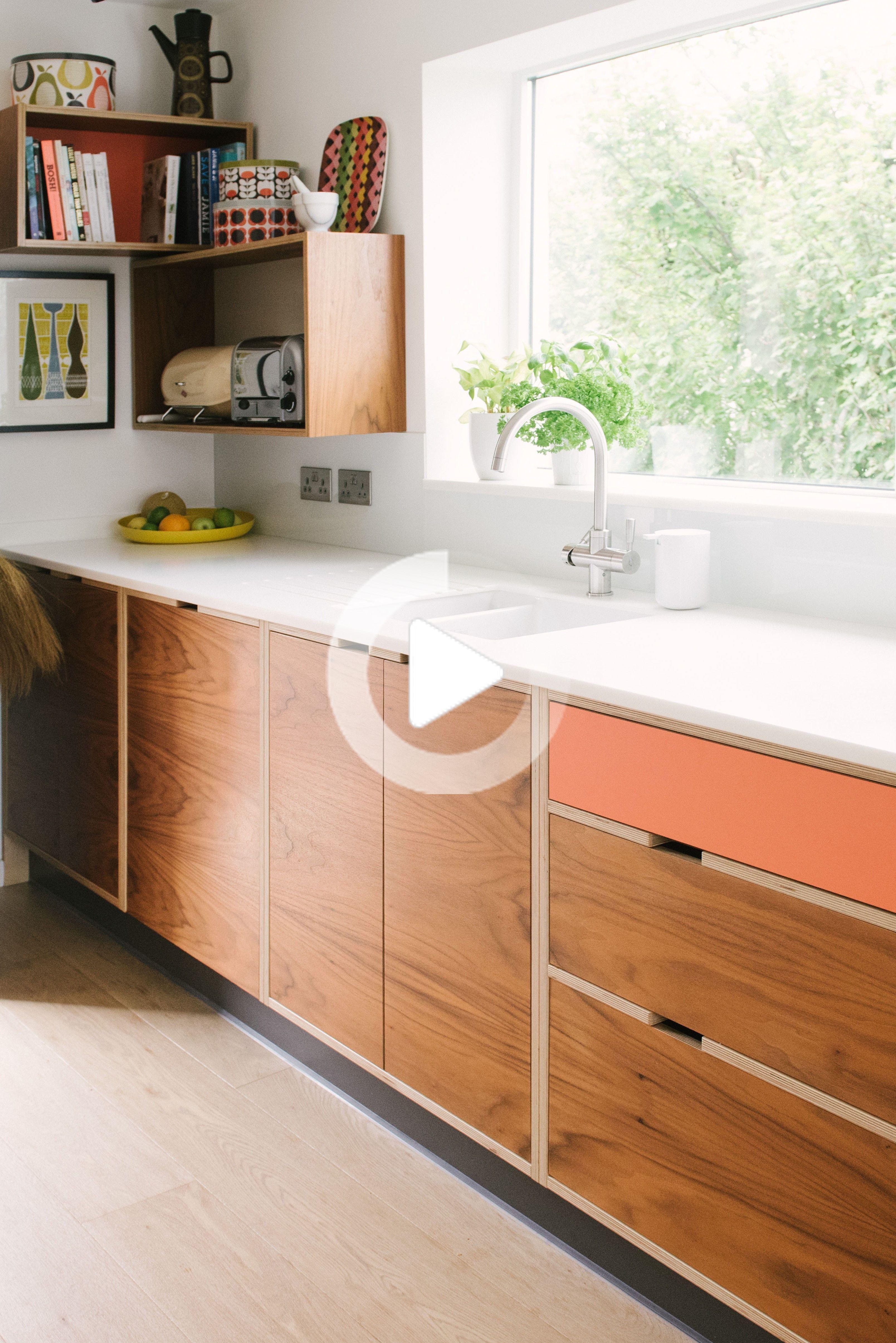Mid Century Style Kitchen   Wood & Wire  Bespoke Plywood Kitchens ...