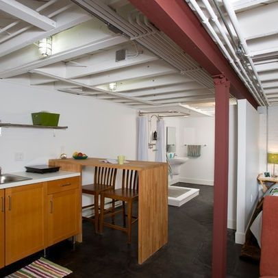 Painted Floor Joist Ideas Exposed Joists Basement Remodel Basement Design Basement Apartment Modern Basement