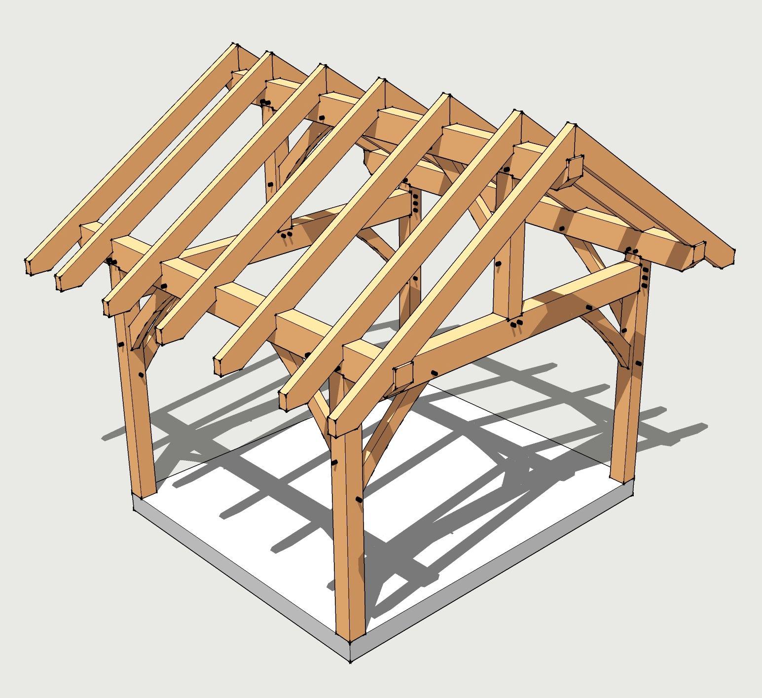 Plan Abri De Jardin En Bois 12x14 timber frame plan | gazebo bois, abri bois et pergola bois