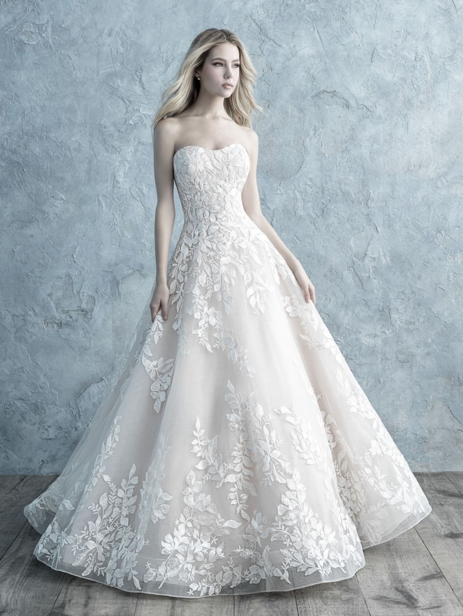 The Beauty Of Vines And Flowers Weaves Itself Across This Strapless Ballgown Allure Bridals 966 Allure Wedding Dresses Allure Bridal Ball Gown Wedding Dress