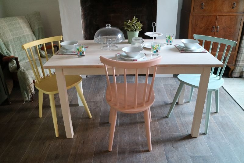 Ercol Style Chairs And White Washed Dining Table Multi Coloured