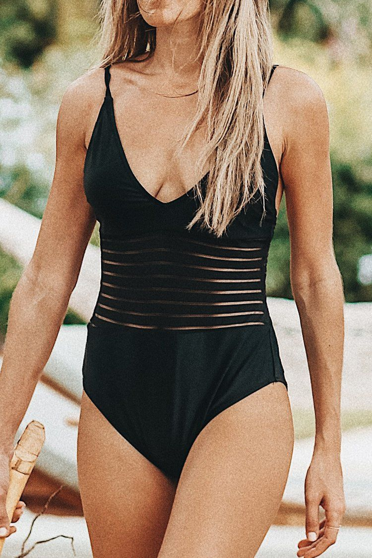 f557f3b45d Cupshe Black Swan Mesh One-piece Swimsuit   2018 ring designs in ...