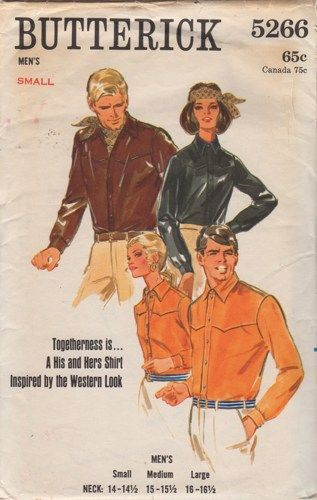 b8eaf261dbba4f 1960s Butterick 5266 Mens Western Shirt Pattern A His and Hers Shirt  inspired by the Western Look | PatternGate - Craft Supplies on ArtFire