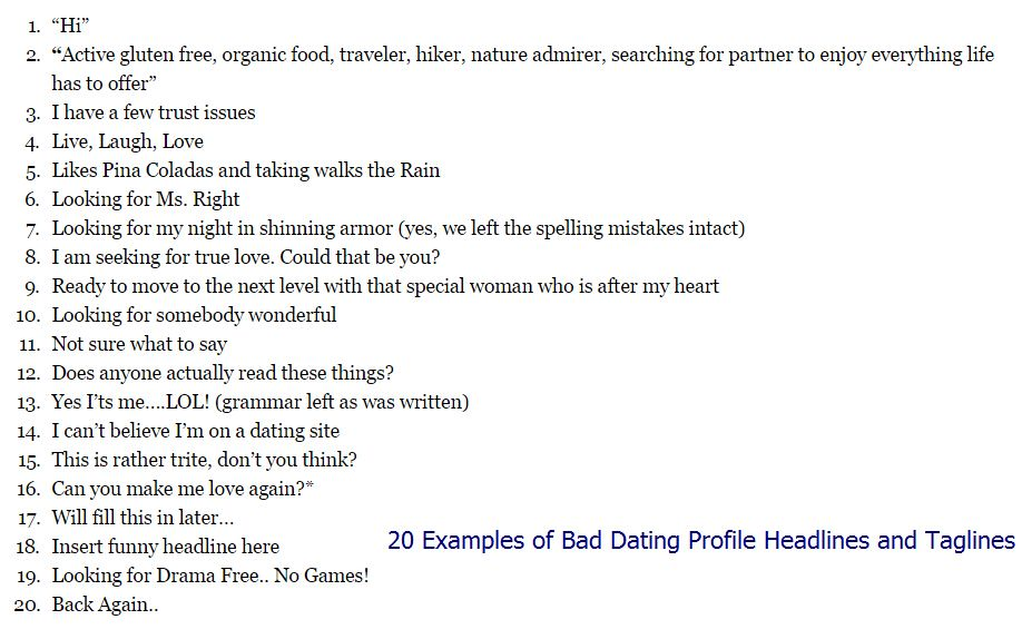 witty taglines for dating profiles