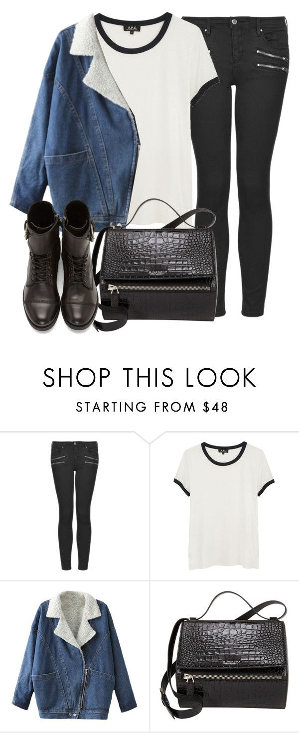 """Untitled #2142"" by oliviaswardrobe ❤ liked on Polyvore featuring Topshop, A.P.C., Givenchy and Diesel"