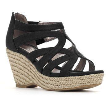Wedge sandals, Wedges, Black strappy wedges