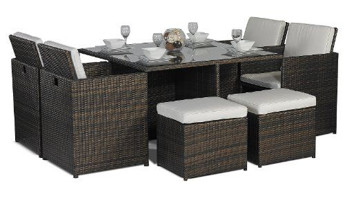Savannah Giardino Rattan Garden Furniture Glass Cube Dini