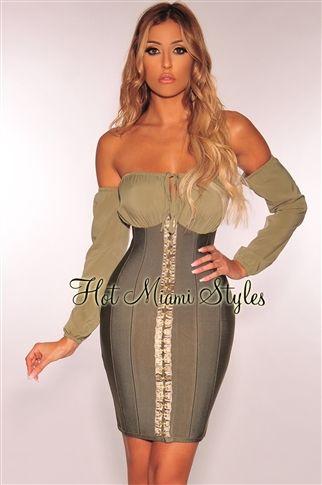 olive bandage peasant off shoulder corset hook  eye dress
