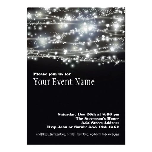 Sparkling Stars Black And White Party Invitation  White Party