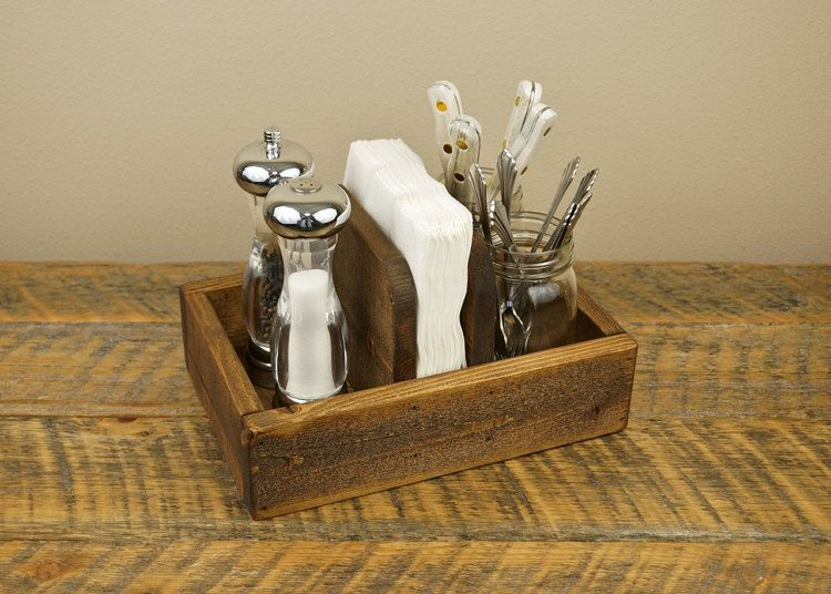 rustic napkin holder and condiment caddy - Condiment Caddy