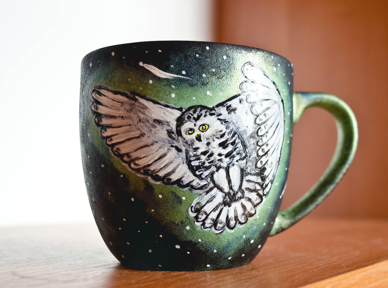Magical snowy owl mug painted custom mug hedwig inspired