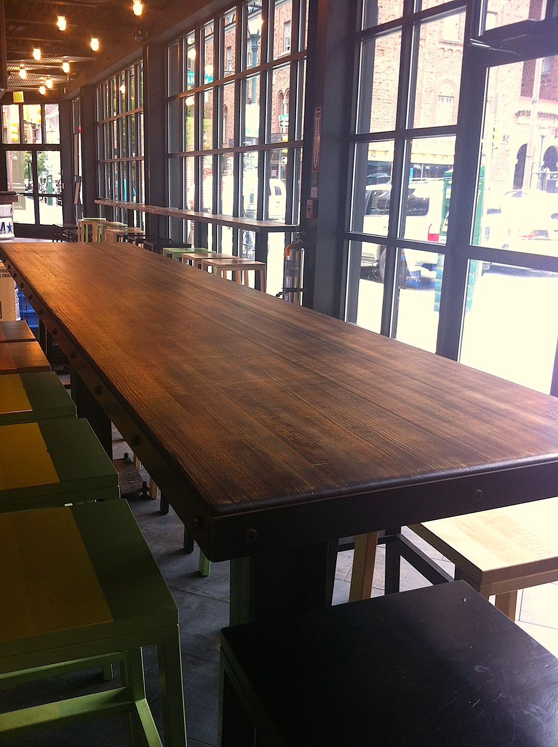 Counterev Reclaimed Wood Table As Seen In The New Philadelphia Shake Shack Made By Hand Brooklyn From Bowling Lanes Madeinusa Ecofriendly