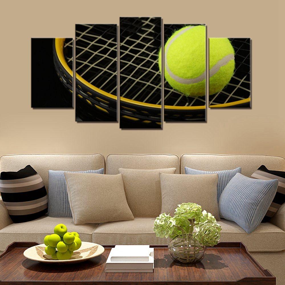 Tennis Ball And Tennis Racket Sport Canvas Wall Art In 2020 Sport Canvas Canvas Wall Art Framed Canvas Art