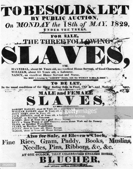 A Sale Bill Poster Used To Advertise A Public Auction Of Slaves In