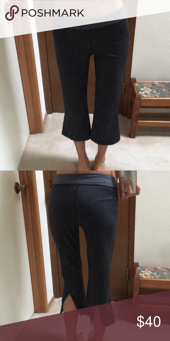 e542d52cc06cd Lululemon crops Gray Lululemon yoga crops with cute slit back detail.  Received as a gift but are one size too big. lululemon athletica Pants  Capris