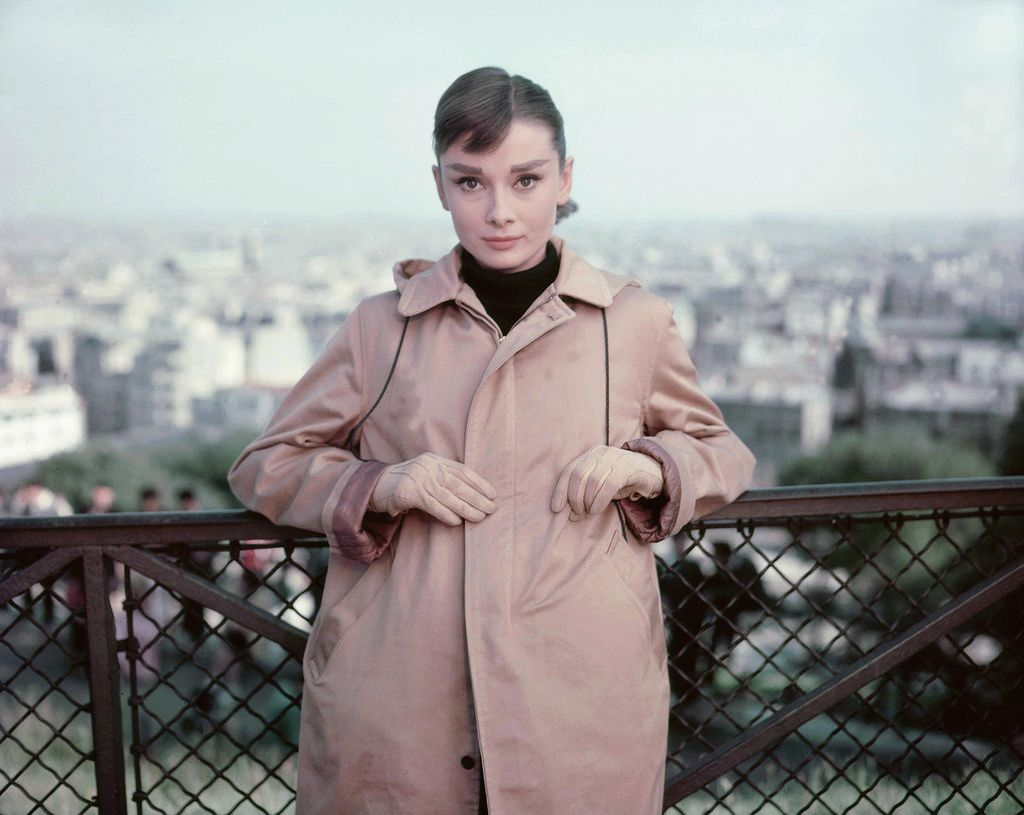Paris, 1956: Audrey on location for the shooting of Funny Face.