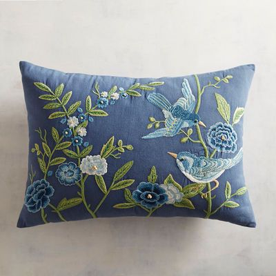 Bring A Meadow Inside With Our Beautiful Pillow Featuring Wildflowers And A Swooping Bird Hand Embroi Embroidered Cushions Pillow Embroidery Cushion Embroidery