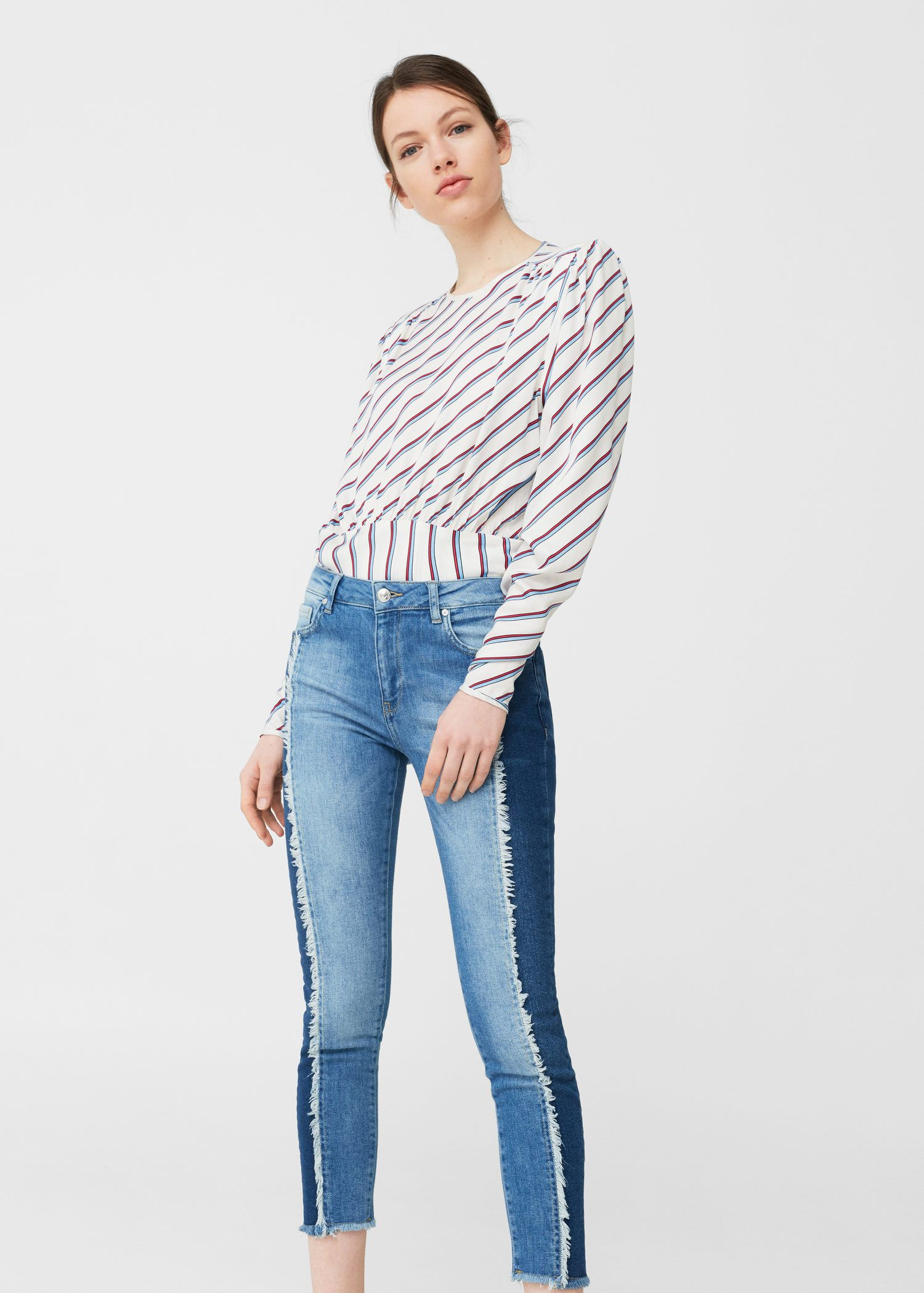 Jeans Relaxed Crop Contrast Mujer Mango Espana Women Jeans Denim Women Bollywood Outfits