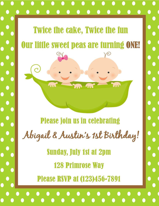 Twins First Birthday Invitation Digital File